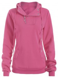 Side Half Zip Kangaroo Pocket Hoodie - ROSE RED