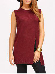 Slit Sleeveless Jumper Sweater