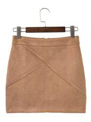 Mini Deerskin Bodycon Skirts - BROWN L