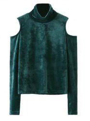 Cold Shoulder Velvet Blouse - BLACKISH GREEN L