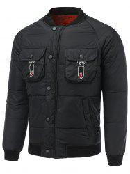 Multi Pocket Snap Front Embroidered Padded Jacket -