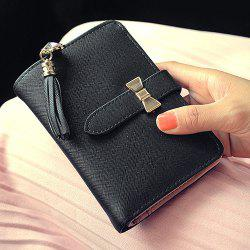 Strap Tassels Short Wallet - BLACK