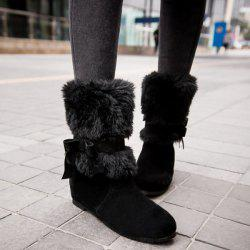 Faux Fur Bowknot Low Heel Ankle Boots -