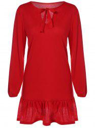 Bowknot Drop Waist Dress - RED