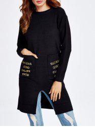 Crew Neck Letters Embroidery Long Knitwear -