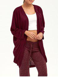 Open Front Long Sleeve Plain Knit Cardigan