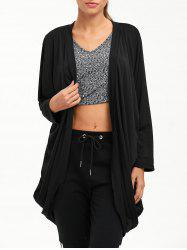 Open Front Long Sleeve Plain Cardigan