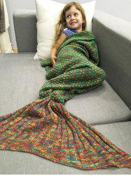Polka Dot Design Bed Sleeping Bag Knitted Mermaid Blanket - RED AND GREEN