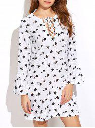 Star Print Lace-Up Bell Sleeves Dress - WHITE XL
