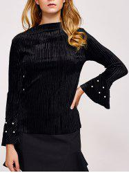 Faux Pearl Embellished Flare Sleeve Corduroy Top -