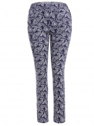 Skinny Flower Print Leggings - DEEP BLUE