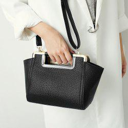 Textured PU Leather Metal Trimmed Handbag -