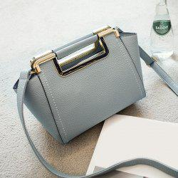 Textured PU Leather Metal Trimmed Handbag