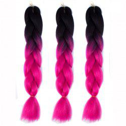 1 Pcs Multicolor Ombre High Temperature Fiber Braided Long Hair Extensions - BLACK AND ROSE RED