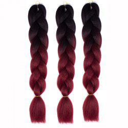 1 Pcs Multicolor Ombre High Temperature Fiber Braided Long Hair Extensions - BLACK AND RED