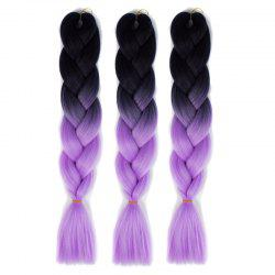 1 Pcs Multicolor Ombre High Temperature Fiber Braided Long Hair Extensions - BLACK AND PURPLE