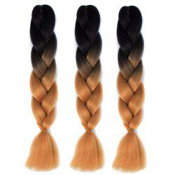 1 Pcs Multicolor Ombre Long High Temperature Fiber Braided Hair Extensions - BLACK AND BROWN