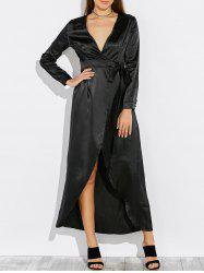 Satin Long Wrap Kimono Prom Dress with Sleeves - BLACK XL