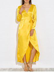 Satin Long Wrap Prom Dress with Sleeves