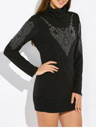 Cowl Neck Rhinestone Embellished Mini Dress - BLACK XL