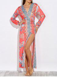 Long Sleeve Ornate Print High Slit Dress