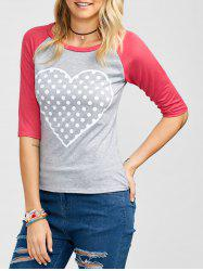 Raglan Sleeve Polka Dot Heart Graphic Tee