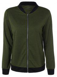 Stand Collar Zipper Design Jacket - ARMY GREEN