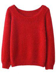 Off Shoulder Fluff Sweater - RED