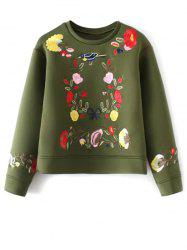 Crew Neck Flower Embroidered Sweatshirt -