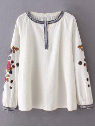 Round Neck Flower Embroidered Tunic Blouse -