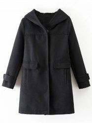 Hooded Woolen Blend Coat -