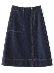 Zippered Denim A Line Skirt - DEEP BLUE