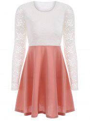 Lace Insert Long Sleeve Skater Dress - PINK L