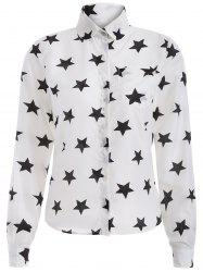 Star Print Chiffon Button Down Shirt