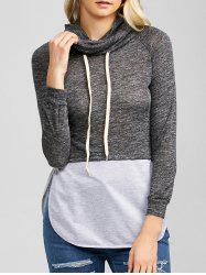 Heather String Spliced Hoodie
