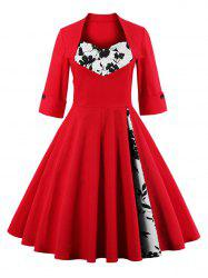 Knee Length Floral Flare Corset Dress - BRIGHT RED 4XL