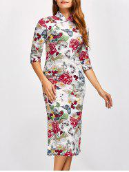 Chinese Qipao Floral Midi Pencil Dress