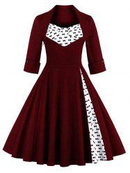 Bowknot Swing Dress Vintage Prom Dresses - WINE RED S