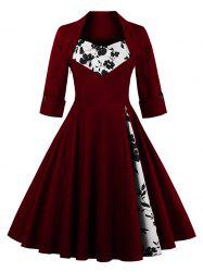 Knee Length Floral Flare Corset Dress - WINE RED 4XL