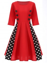Polka Dot Insert Swing Dress
