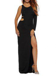 One Sleeve Cut Out High Slit Bodycon Maxi Dress