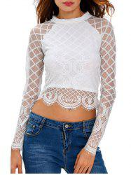 Long Sleeve Zippered Mesh Crop Top T-Shirt