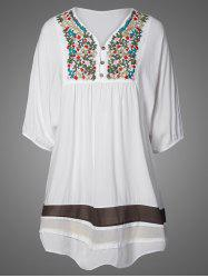 Embroidered Bib Casual Dress - WHITE ONE SIZE