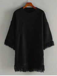 Crew Neck Fringed Pullover Sweater