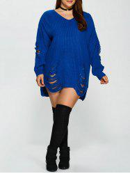 Distressed Plus Size Sweater - BLUE