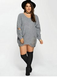 Distressed Plus Size Sweater - GRAY
