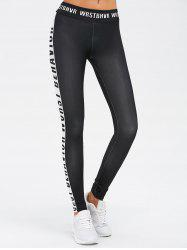 Sporty Letter Print Color Block Leggings - BLACK