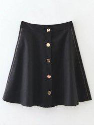 Single-Breasted Wool Blend A Line Skirt -