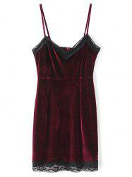 Pleuche Lace Panel Mini Cami Dress