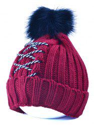 Winter Knitted Crossing Rope Pompom Skullies Beanie -